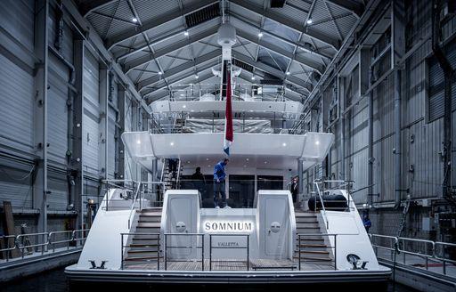 Luxury yacht SOMNIUM aft