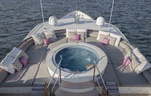 The Jacuzzi on the sundeck of superyacht 'Carpe Diem II'
