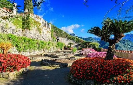 Gardens in Villa Rufolo in the town of Ravello