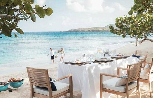 beach picnic on luxury yacht