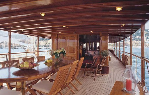 alfresco dining area on board classic charter yacht over the rainbow