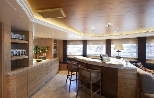 lounge bar on luxury yacht naia