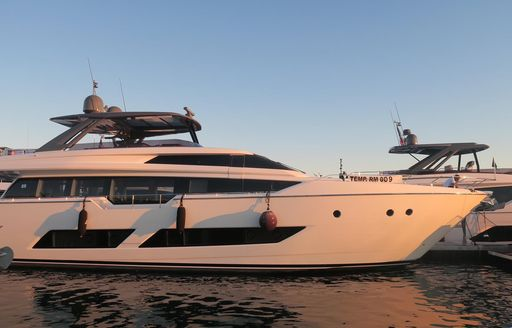 Superyachts during sunset at Cannes Yaching Festival