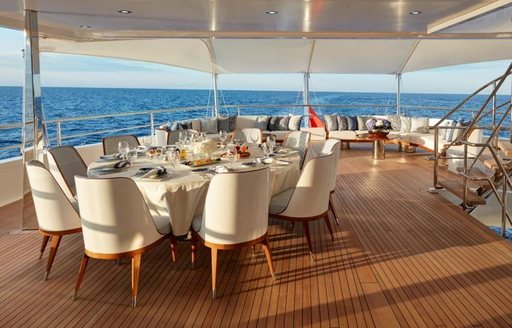 The alfresco dining spaces on board superyacht JOY