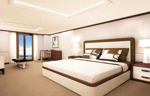 rendering of master suite on luxury yacht galene