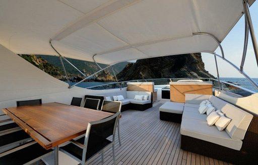 Outdoor seating onboard Bertona III yacht