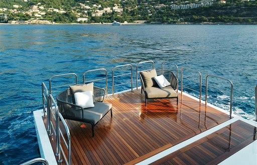 luxury yacht katia lounge area on swim platform