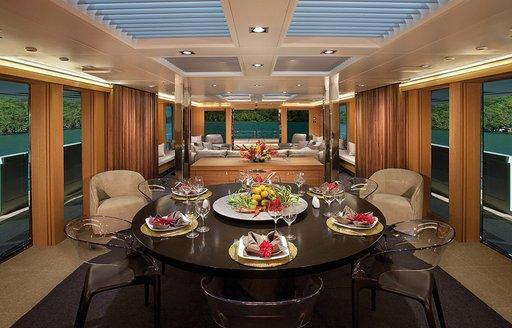 Main dining onboard superyacht BIG FISH