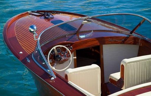 tender of yacht in blue sea