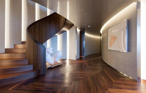 Lobby area on superyacht SAVANNAH, with staircase winding down