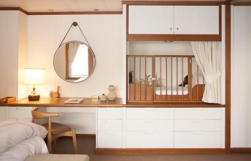 Superyacht Suri guest room with crib