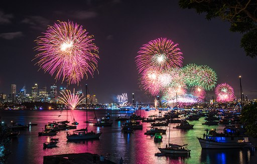 yachts line up in Sydney Harbour Marina on New Year's Eve to watch the spectacular firework displays