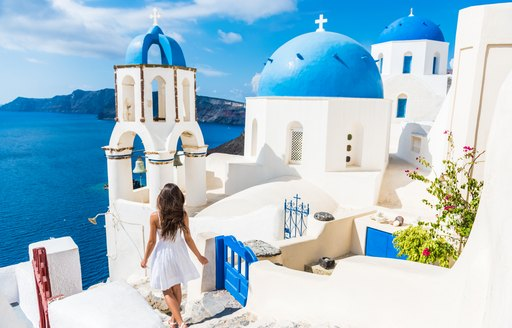 White buildings and blue roofs in Santorini, Greece