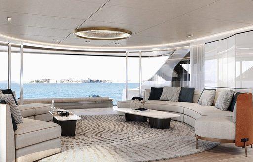 main salon on superyacht rebeca with glass panel windows