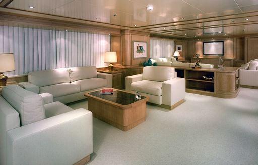 luxe main salon on board luxury yacht FERDY