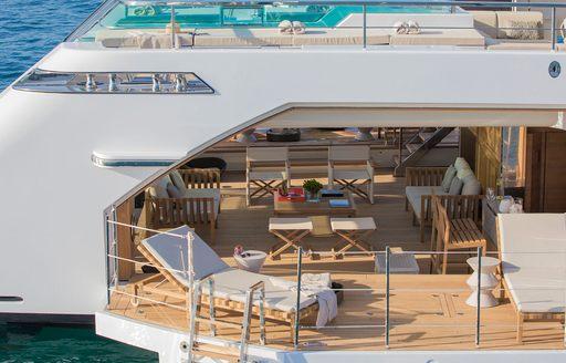 beach club and sea terraces on lady lena yacht
