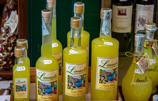 Bottles of Limoncello in the Town of Amalfi