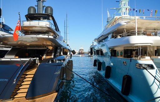 A pair of yachts at Monaco Yacht Show