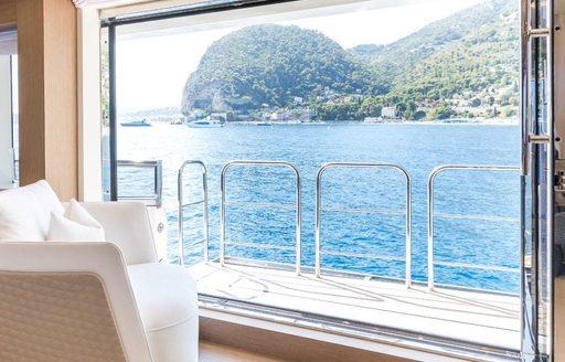 side balcony in the main salon of motor yacht katia