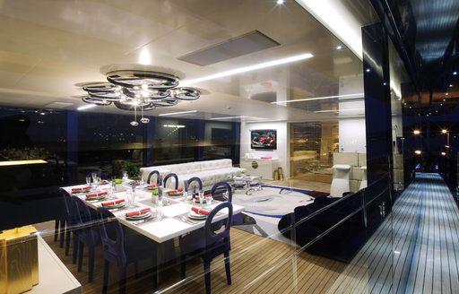 Main salon and sidewalk of luxury yacht BLADE
