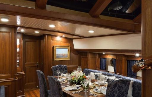 The interior dining space on board sailing yacht MARAE