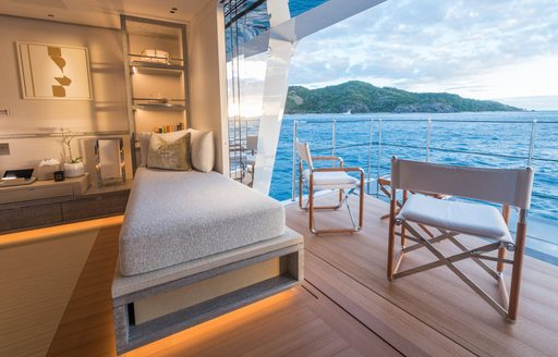 balcony on charter yacht driftwood with caribbean sea