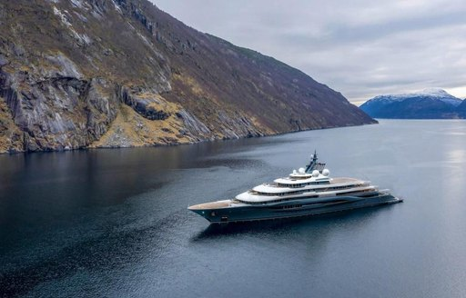 Superyacht Flying Fox at anchor in Norway