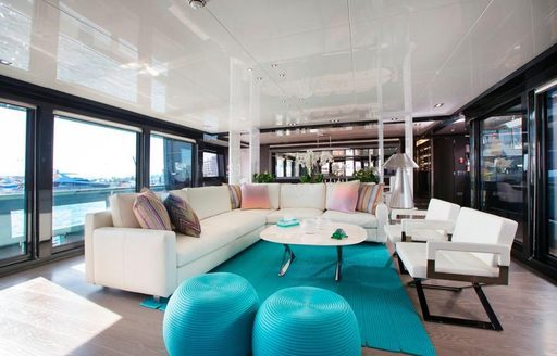 Social area for guests on a luxury charter onboard TORTOISE