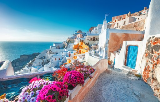 Hillside view of colorful houses in Oia, Santorini