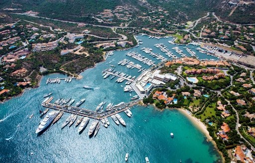 Aerial view of Porto Cervo marina in Sardinia, with Yacht Club Costa Smeralda visible