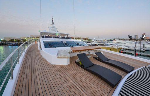 sunning opportunities on sundeck of luxury yacht 'Ghost II'