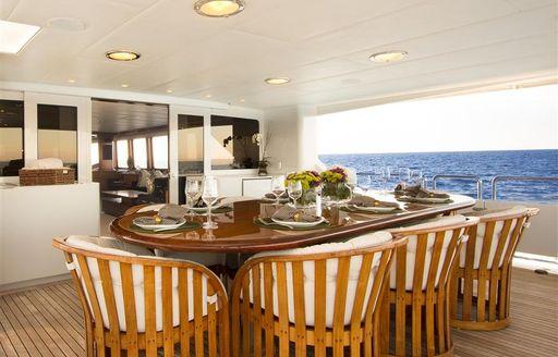 motor yacht TALOS's al fresco dining area