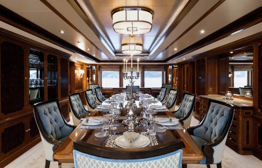Formal dining onboard MY Titania