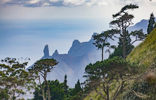 View over mist and mountains in South Atlantic Islands