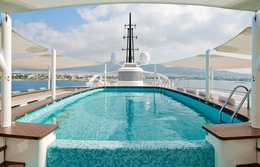 Outdoor pool on superyacht Dream