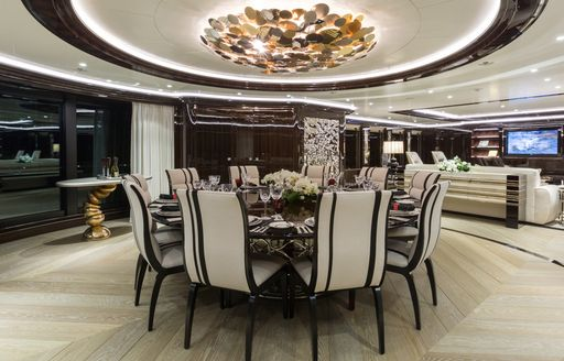 The formal dining area on board M/Y OKTO