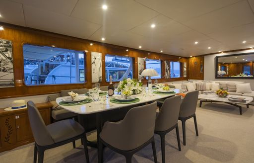 feadship yacht alhambra dining area