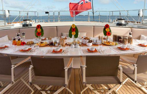 alfresco dining area on luxury yacht panthalassa