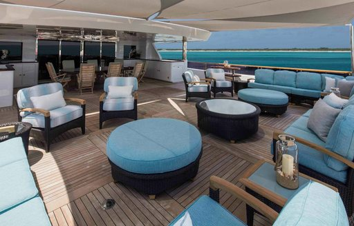 The blue furnishings featured on board superyacht UNBRIDLED
