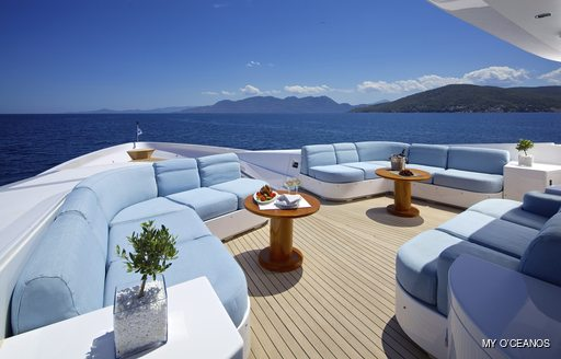 forward lounging area onboard MY O'Ceanos