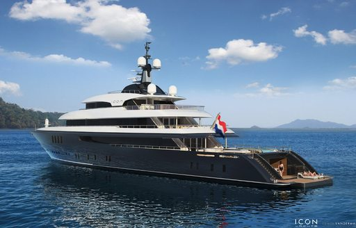 Charter guests can relax on large swim platform on Icon Yacht