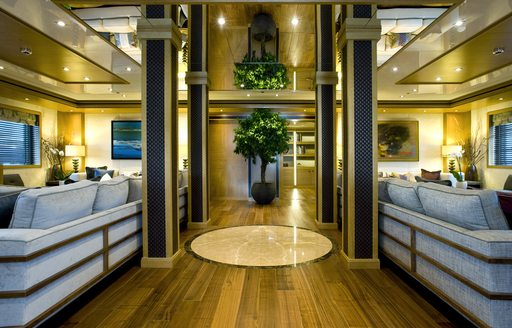 lounge areas and pillars in main salon of luxury yacht 'Indian Empress'