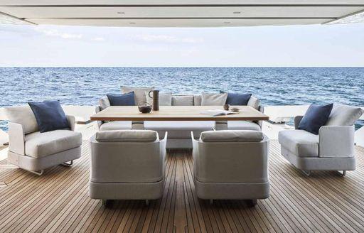 Ocean six motor yacht lounging areas