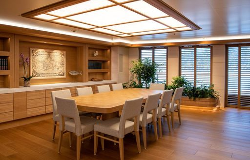 Dining salon on board luxury charter yacht