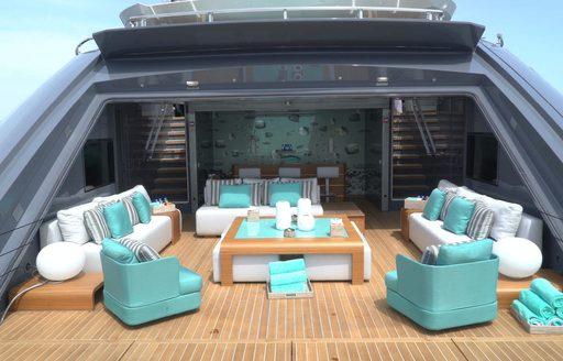 superyacht utopia iv beach club and swim platform