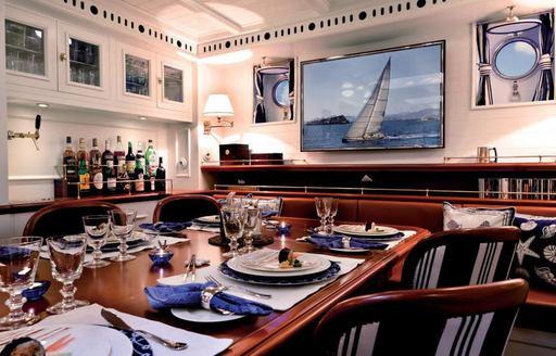 Dining room onboard sailing yacht GERMANIA NOVA