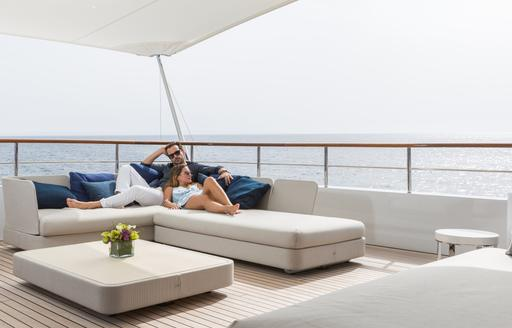 The aft deck and sunpads on board motor yacht GO