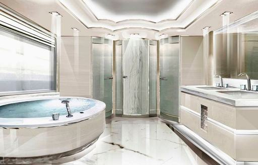 opari yacht marble bathroom and tub