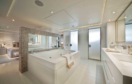 jacuzzi tub in the master suite of luxury yacht light holic