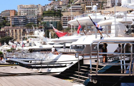 Docks of Marina di Stabia, yachts lined up along the water